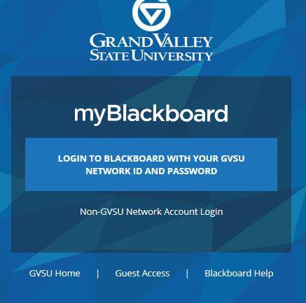 Blackboard login screen